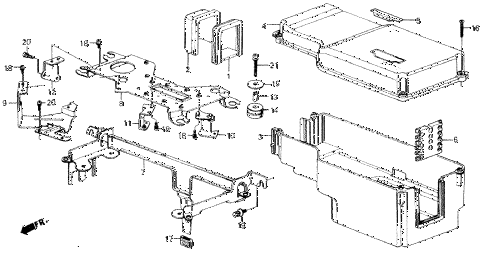 1989 accord DX 2 DOOR 5MT CONTROL BOX diagram