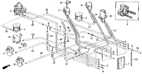 1989 accord DX 2 DOOR 5MT MT AIR CLEANER VACUUM TUBING diagram