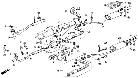 1988 accord LXI 2 DOOR 5MT EXHAUST SYSTEM diagram