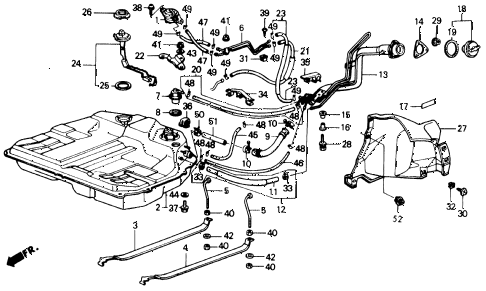 1989 accord LXI 2 DOOR 5MT FUEL TANK diagram