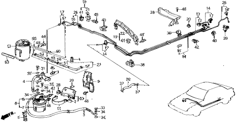 1988 accord LXI 2 DOOR 5MT FUEL PIPE (PGM-FI) diagram