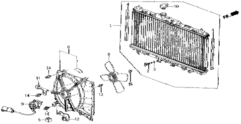 1989 accord DX 2 DOOR 5MT RADIATOR (DENSO) diagram