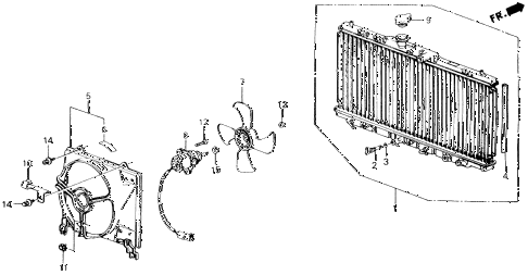 1989 accord LXI 2 DOOR 5MT RADIATOR (TOYO) diagram