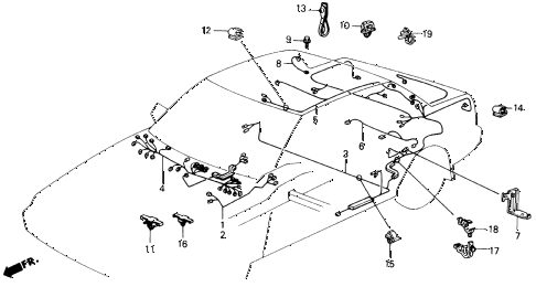 1989 accord DX 2 DOOR 5MT REAR WIRE HARNESS diagram