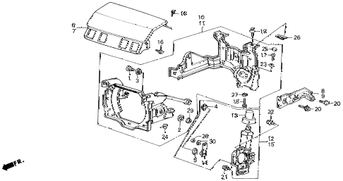 1989 accord DX 2 DOOR 5MT HEADLIGHT LID diagram