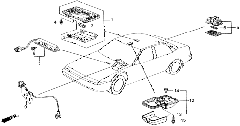 1989 accord LXI 2 DOOR 5MT INTERIOR LIGHT diagram