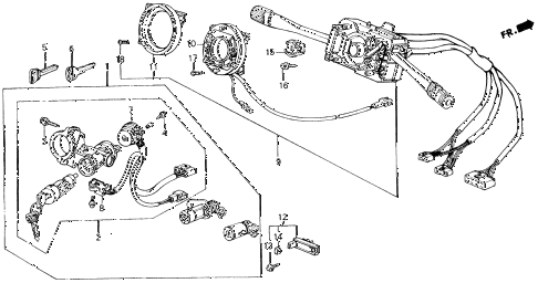 1989 accord LXI 2 DOOR 5MT STEERING WHEEL SWITCH diagram