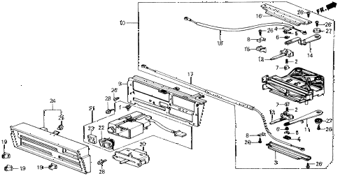 1989 accord DX 2 DOOR 5MT HEATER CONTROL (LEVER) diagram