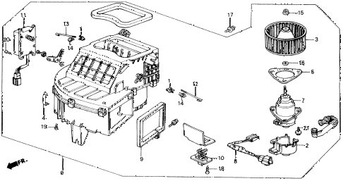 1989 accord LXI 2 DOOR 5MT HEATER BLOWER diagram