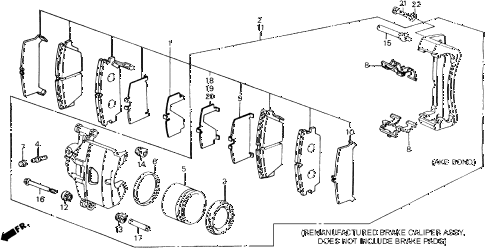 1989 accord DX 2 DOOR 5MT FRONT BRAKE CALIPER (DX) diagram