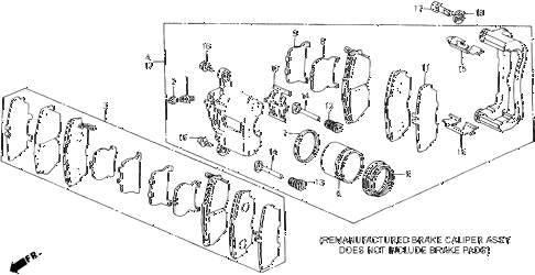 1988 accord LXI 2 DOOR 5MT FRONT BRAKE CALIPER (LXI, SEI) diagram