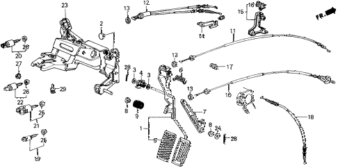1989 accord LXI 2 DOOR 5MT ACCELERATOR PEDAL diagram
