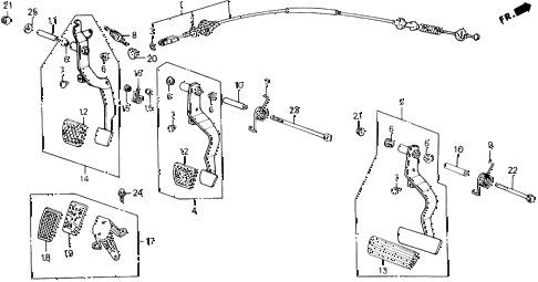 1989 accord LXI 2 DOOR 5MT BRAKE @ CLUTCH PEDAL diagram