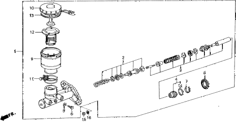 1989 accord LXI 2 DOOR 5MT BRAKE MASTER CYLINDER diagram