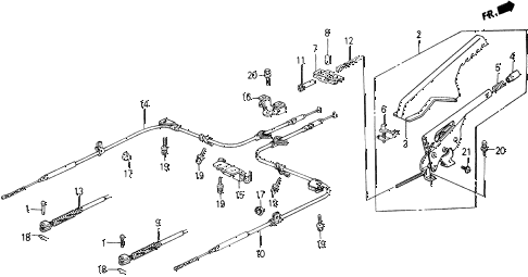1989 accord DX 2 DOOR 5MT PARKING BRAKE diagram