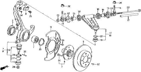 1989 accord LXI 2 DOOR 5MT FRONT KNUCKLE - BRAKE DISK diagram