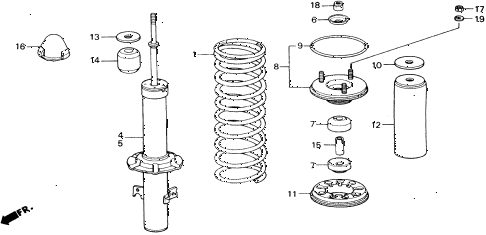 1989 accord DX 2 DOOR 5MT FRONT SHOCK ABSORBER diagram