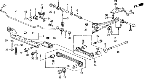 1989 accord LXI 2 DOOR 5MT REAR LOWER ARM diagram