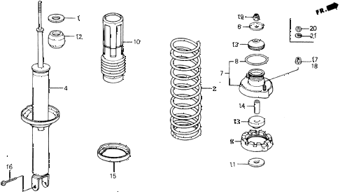 1989 accord DX 2 DOOR 5MT REAR SHOCK ABSORBER diagram