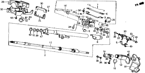 1988 accord LXI 2 DOOR 5MT STEERING COLUMN diagram