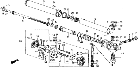 1989 accord LXI 2 DOOR 5MT P.S. GEAR BOX COMPONENTS diagram