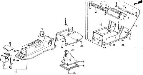1988 accord LXI 2 DOOR 5MT CONSOLE (DX, LXI) diagram