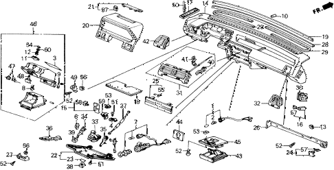 1988 accord LXI 2 DOOR 5MT INSTRUMENT PANEL diagram