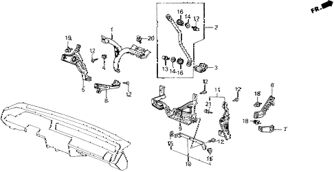 1989 accord LXI 2 DOOR 5MT INSTRUMENT STAYS diagram