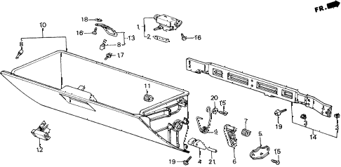1989 accord LXI 2 DOOR 5MT GLOVE BOX COMPONENTS diagram
