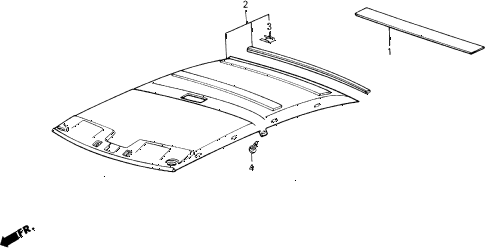 1988 accord LXI 2 DOOR 5MT HEADLINER TRIM diagram