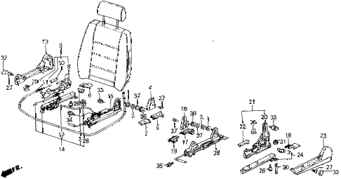 1988 accord LXI 2 DOOR 5MT FRONT SEAT COMPONENTS diagram