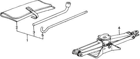 1988 accord LXI 2 DOOR 5MT TOOLS - JACK diagram