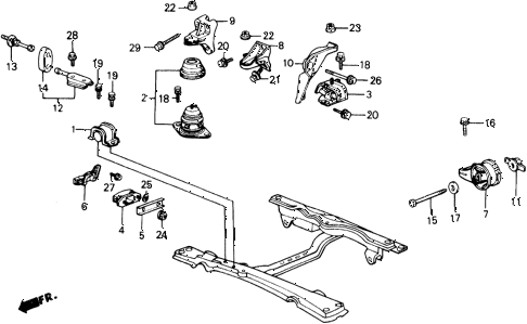 1989 accord DX 2 DOOR 5MT ENGINE MOUNT diagram