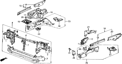 1989 accord DX 2 DOOR 5MT BULKHEAD - WHEELHOUSE diagram