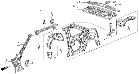 1989 accord DX 2 DOOR 5MT INNER PANEL diagram