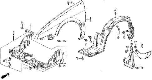 1989 accord LXI 2 DOOR 5MT FRONT FENDER diagram