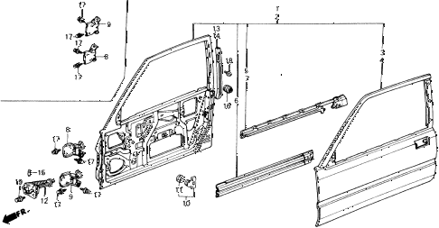 1988 accord DX 2 DOOR 5MT DOOR PANEL diagram
