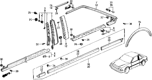 1989 accord LXI 2 DOOR 5MT SIDE PROTECTOR diagram