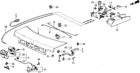1989 accord DX 2 DOOR 5MT TRUNK LID diagram