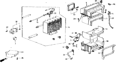 1988 accord LXI 2 DOOR 5MT A/C COOLING UNIT diagram