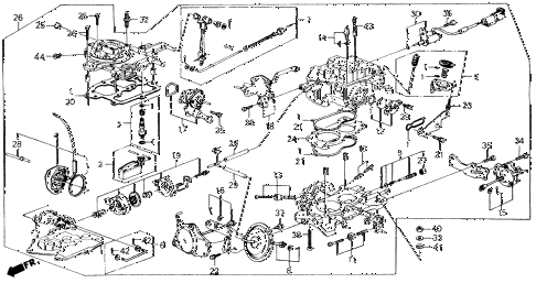 1989 accord DX 2 DOOR 5MT CARBURETOR diagram