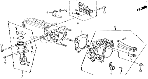 1988 accord LXI 2 DOOR 5MT THROTTLE BODY (PGM-FI) diagram