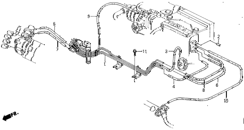 1988 accord LXI 2 DOOR 5MT FUEL VACUUM TUBING (PGM-FI) diagram