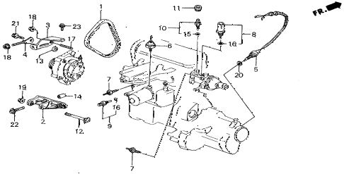 1989 accord LXI 2 DOOR 5MT ALTERNATOR BRACKET diagram
