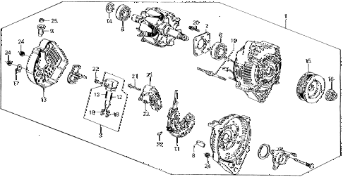 1988 accord LXI 2 DOOR 5MT ALTERNATOR (DENSO) diagram