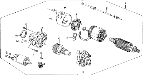 1989 accord DX 2 DOOR 5MT STARTER MOTOR (MITSUBA) diagram