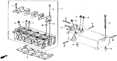 1989 accord DX 2 DOOR 5MT CYLINDER HEAD diagram