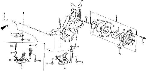 1989 accord LXI 2 DOOR 5MT OIL PUMP - OIL STRAINER diagram