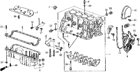 1988 accord LXI 2 DOOR 5MT CYLINDER BLOCK - OIL PAN diagram