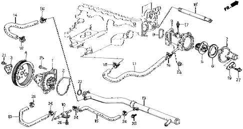 1989 accord DX 2 DOOR 5MT WATER PUMP - THERMOSTAT diagram
